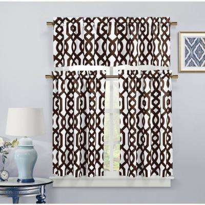 Ashmont Chocolate Canvas Kitchen Curtain - 58 in. W x 15 in. L in (2-Piece)