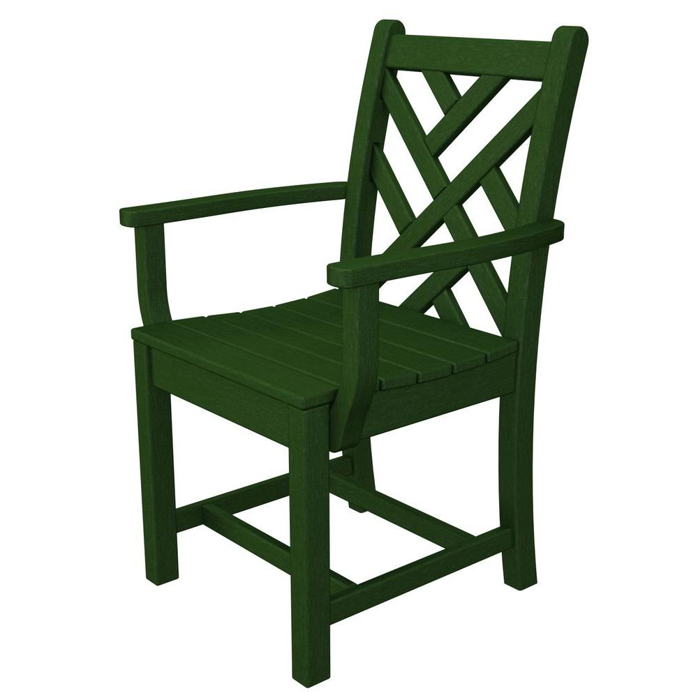 POLYWOOD Chippendale Green All-Weather Plastic Outdoor Dining Arm Chair