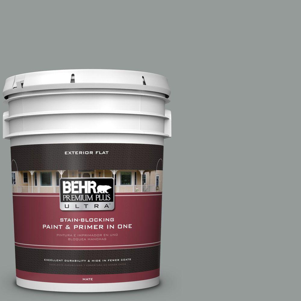 BEHR Premium Plus Ultra 5-gal. #BXC-66 Dusk Blue Flat Exterior Paint