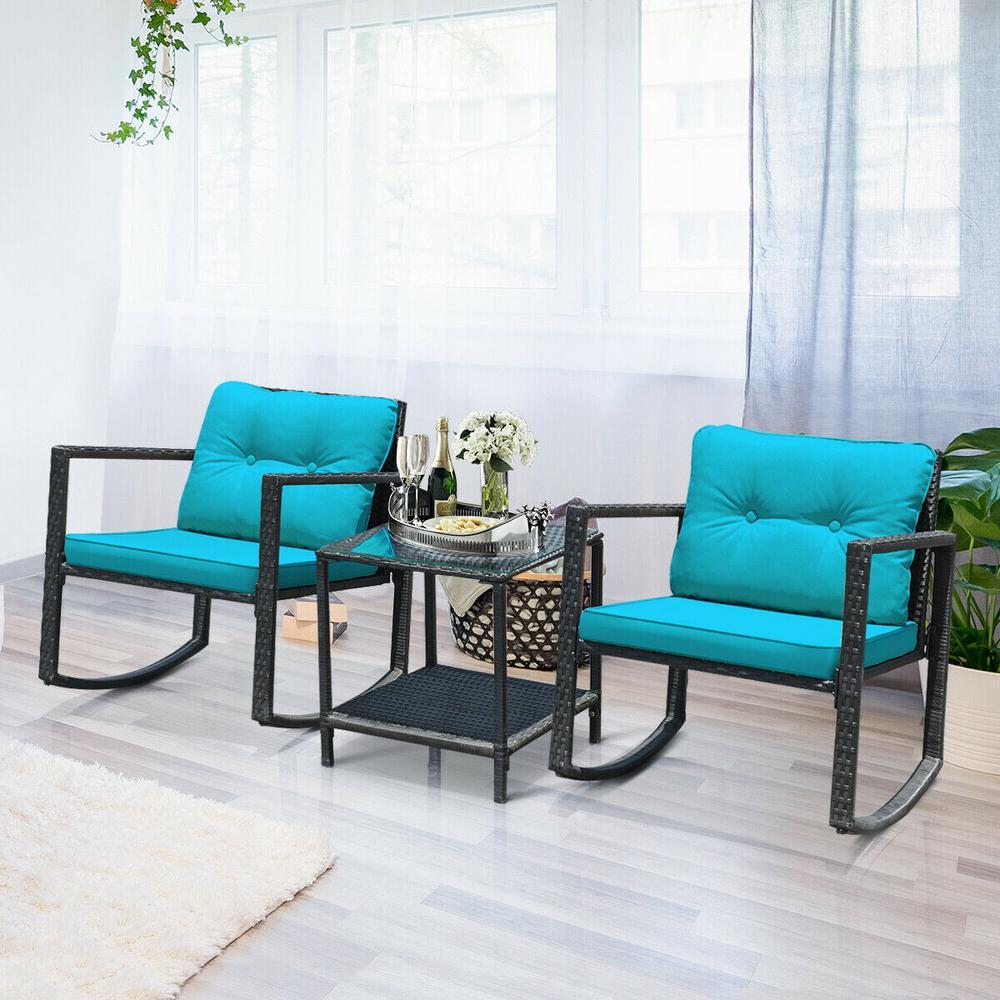 CASAINC Black 3 pc Wicker Patio Conversation Set w/ CushionGuard Blue Sponge Cushions, 2 Rocking Chair and Glass Top Table