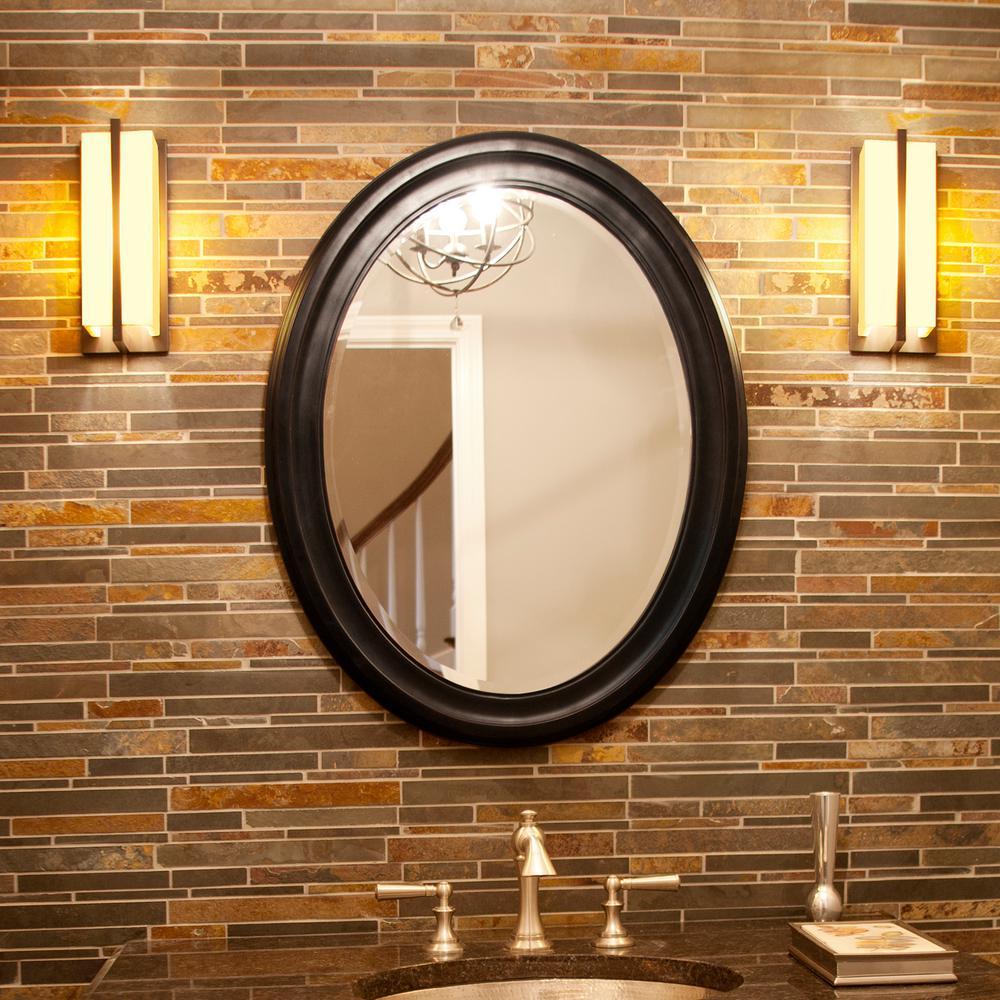 Medium Oval Matte Black Lacquer Modern Mirror (33 in. H x 25 in. W)