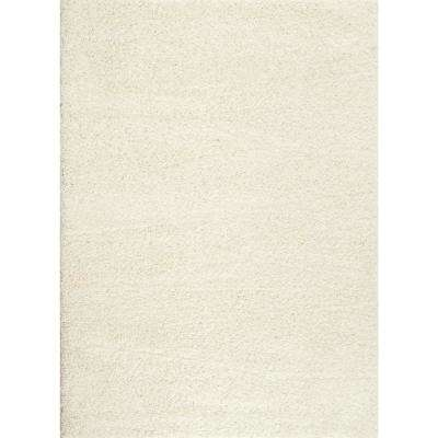 Soft Solid Cozy Shag White 7 ft. 10 in. x 10 ft. Indoor Area Rug