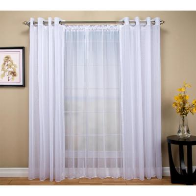 Tergaline 108 in. W x 96 in. L Double Wide Sheer Grommet Window Panel in White