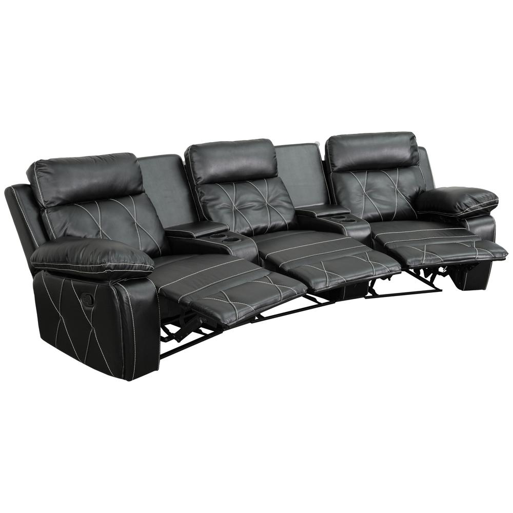 Flash Furniture Reel Comfort Series 3 Seat Reclining Black Leather Theater  Seating Unit With Curved