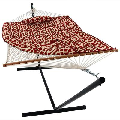 12 ft. Rope Hammock Bed with Stand, Pad and Pillow in Royal Red