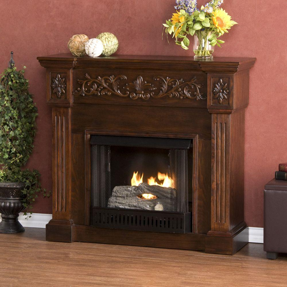 Southern Enterprises Calvert 45 in. Gel Fuel Fireplace in Espresso