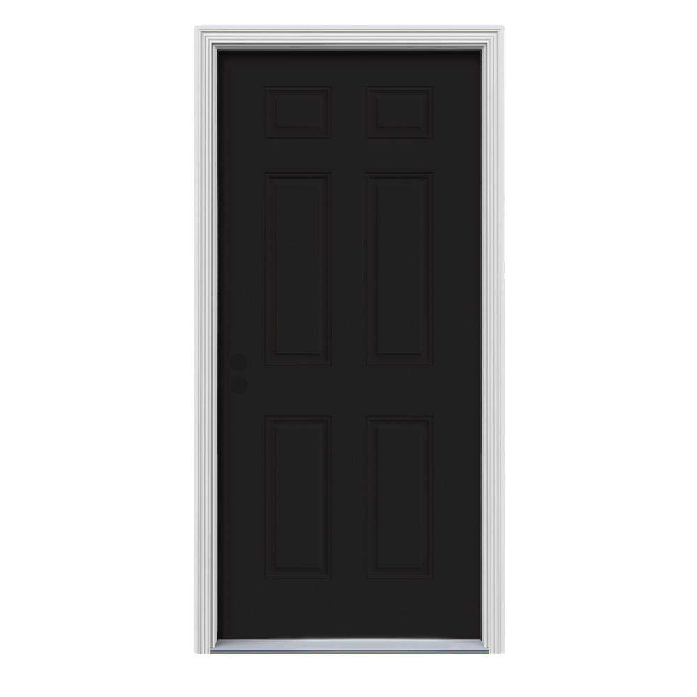 Jeld Wen 30 In X 80 In 6 Panel Black Painted W White Interior Steel Prehung Right Hand