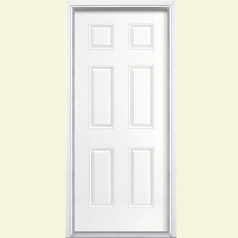 Masonite 36 in. x 80 in. 6-Panel Ultra Pure White Left Hand Inswing Painted Smooth Fiberglass Prehung Front Door with Brickmold