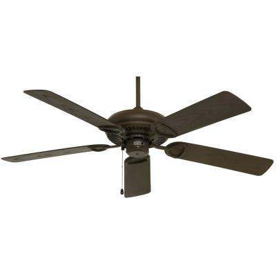 Vera Cruz 52 in. Indoor/Outdoor Oil Rubbed Bronze Downrod/Flush Mount Ceiling Fan with Pull Chain Control