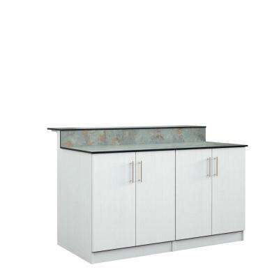 Miami 59.5 in. Outdoor Bar Cabinets with Countertop 4 Full Height Doors in White