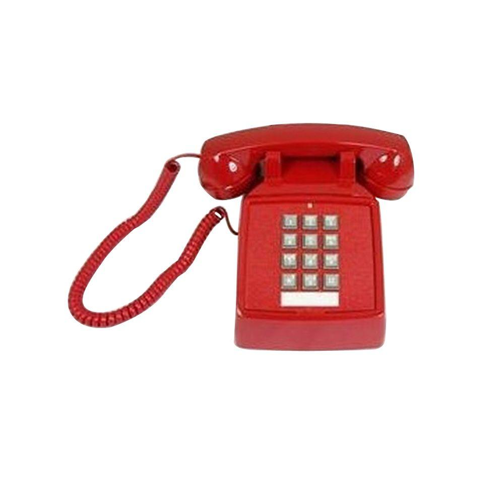 Cortelco Desk Corded Telephone with Volume Control - Red