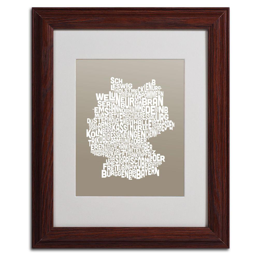 null 11 in. x 14 in. Germany Regions Map - Taupe Matted Framed Art