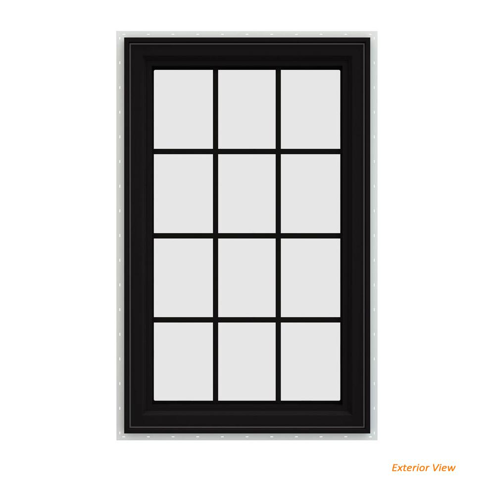 V 4500 Series Black Finishield Vinyl Left Handed Cat Window With Colonial Grids Grilles