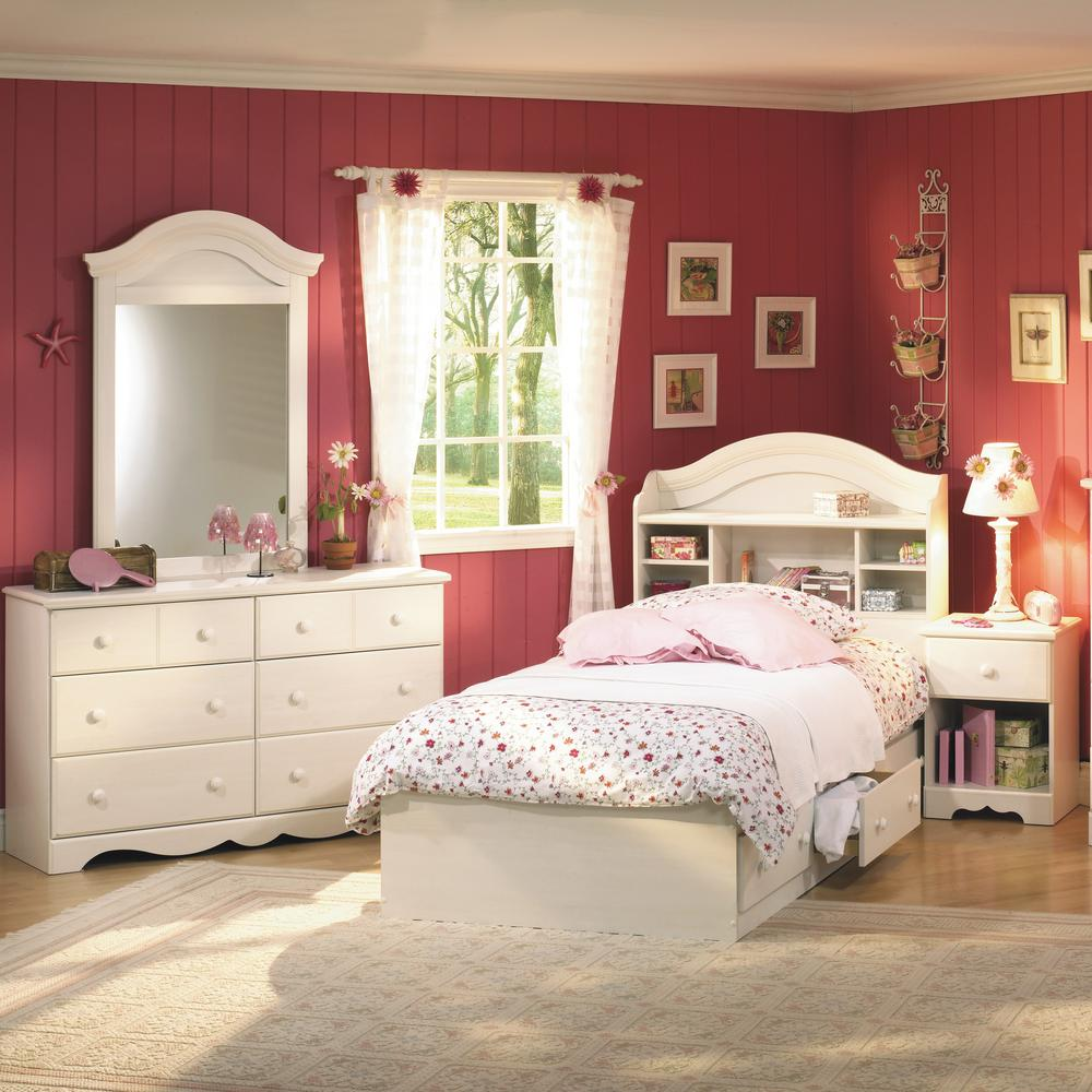 South Shore Breeze White Wash Bedroom Set Summer