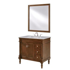 Timeless Home 36 in. W Single Bathroom Vanity in Walnut  with Vanity Top in White with White Basin
