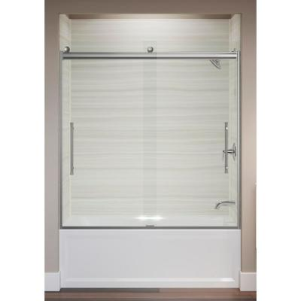 Elmbrook 49.625 in. x 61.5625 in. Frameless Sliding Bathtub Door in Bright Polished Silver