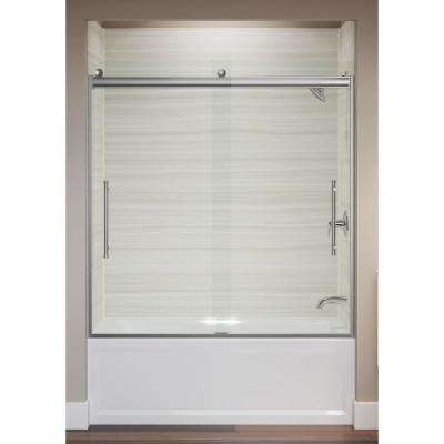 Elmbrook 59.625 in. x 61.5625 in. Frameless Sliding Tub Door in Bright Polished Silver