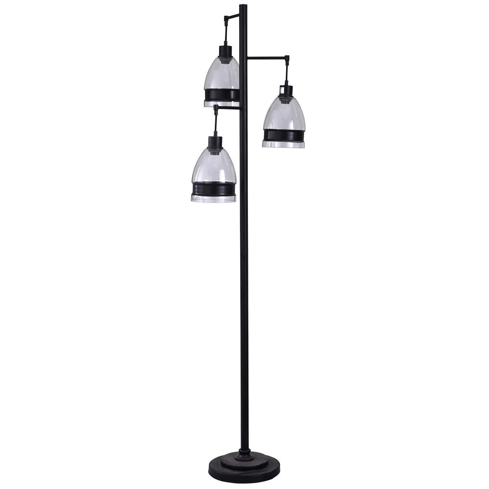 StyleCraft 72 in. Black Floor Lamp with Clear Glass Shade