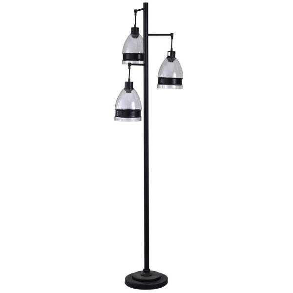 72 in. Black Floor Lamp with Clear Glass Shade