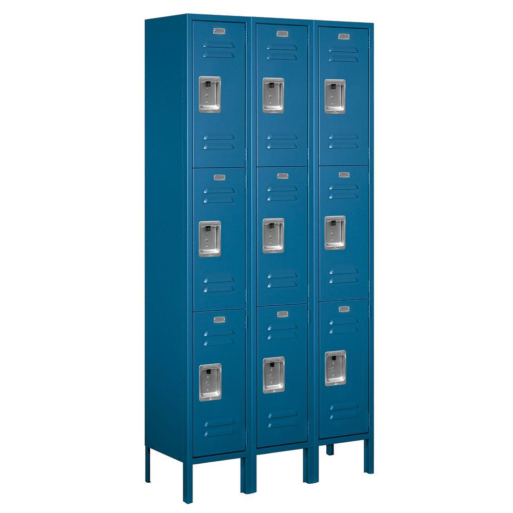 Salsbury Industries 63000 Series 36 in. W x 78 in. H x 12 in. D - Triple Tier Metal Locker Unassembled in Blue