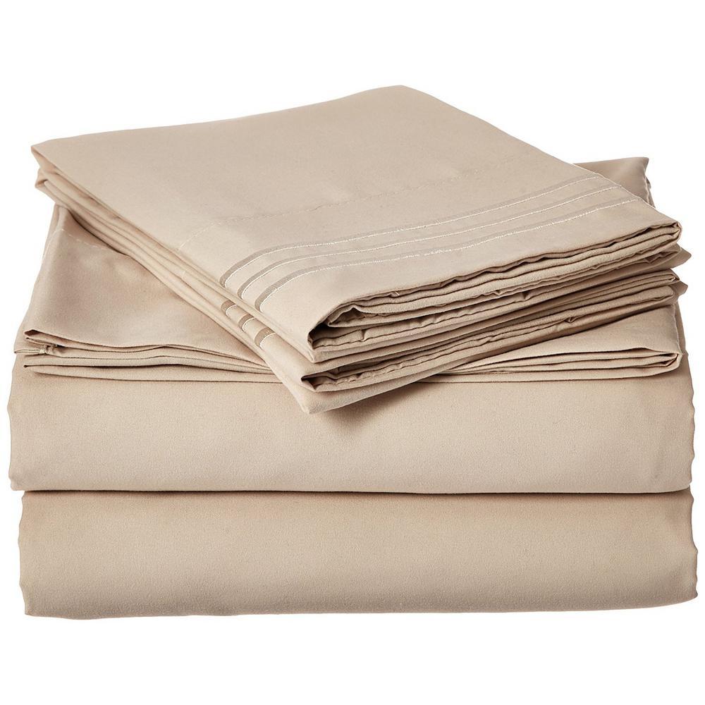 4-Piece Cream Solid Microfiber Full Sheet Set