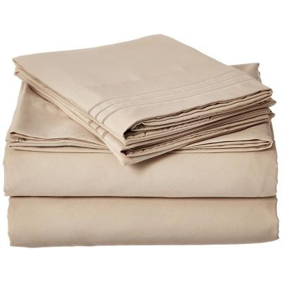 1500 Series 4-Piece Cream Triple Marrow Embroidered Pillowcases Microfiber Twin XL Size Bed Sheet Set