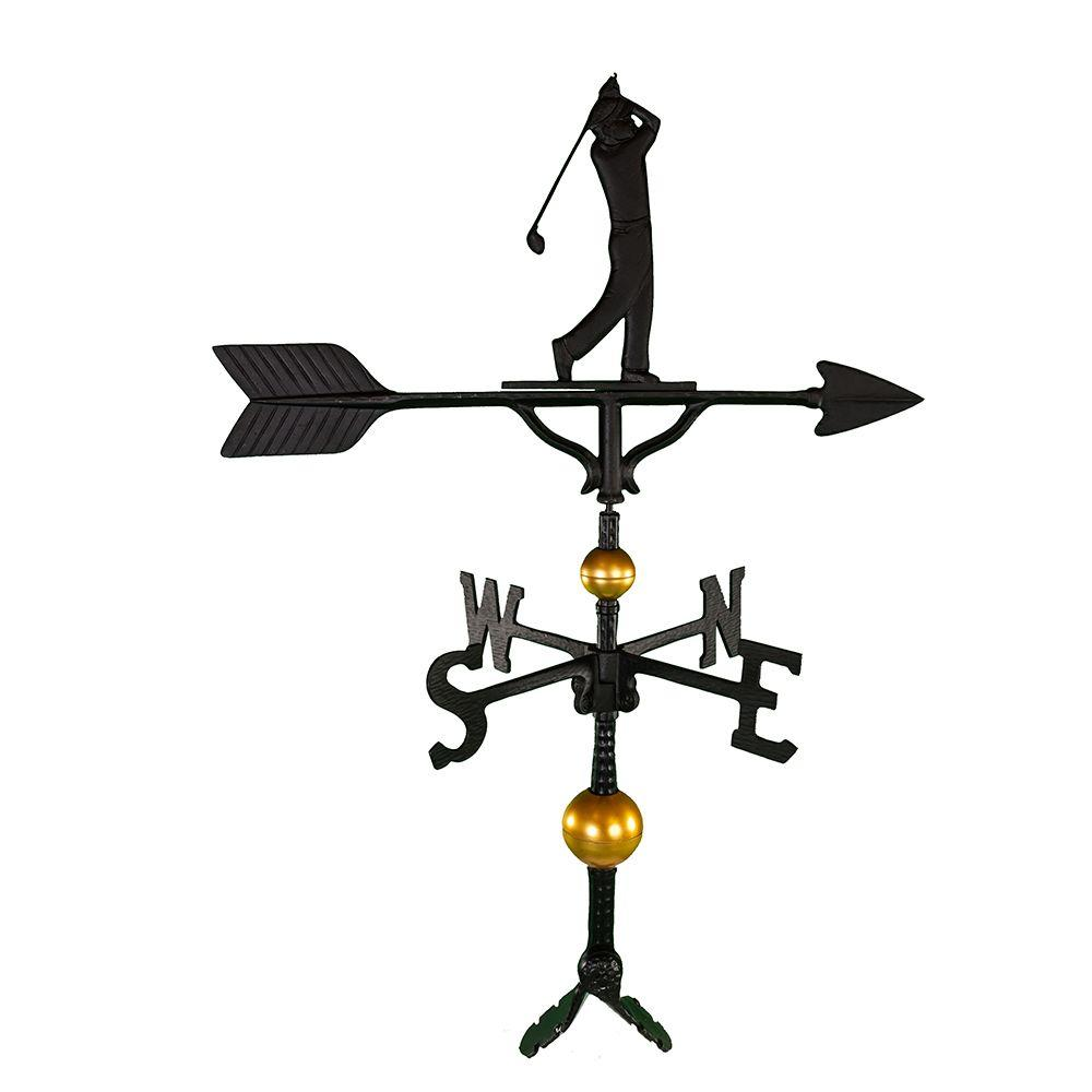 Montague Metal Products 32 in. Deluxe Black Golfer Weathervane Montague Metal Products hand crafted weathervanes are of the highest quality. These fully functional weathervanes are cast of rust free aluminum and finished with weather resistant paint to insure a lifetime of enjoyment. The standard adjustable clutch base makes installation quite easy. Flat bases and threaded masts are also available as an additional option.