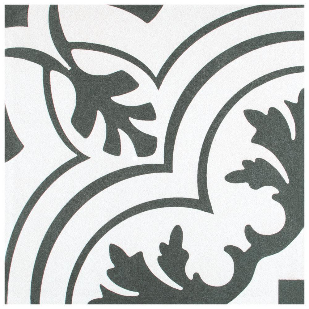 Take Home Tile Sample - Twenties Vintage Encaustic Ceramic Floor and Wall Tile - 7-3/4 in. x 7-3/4 in.