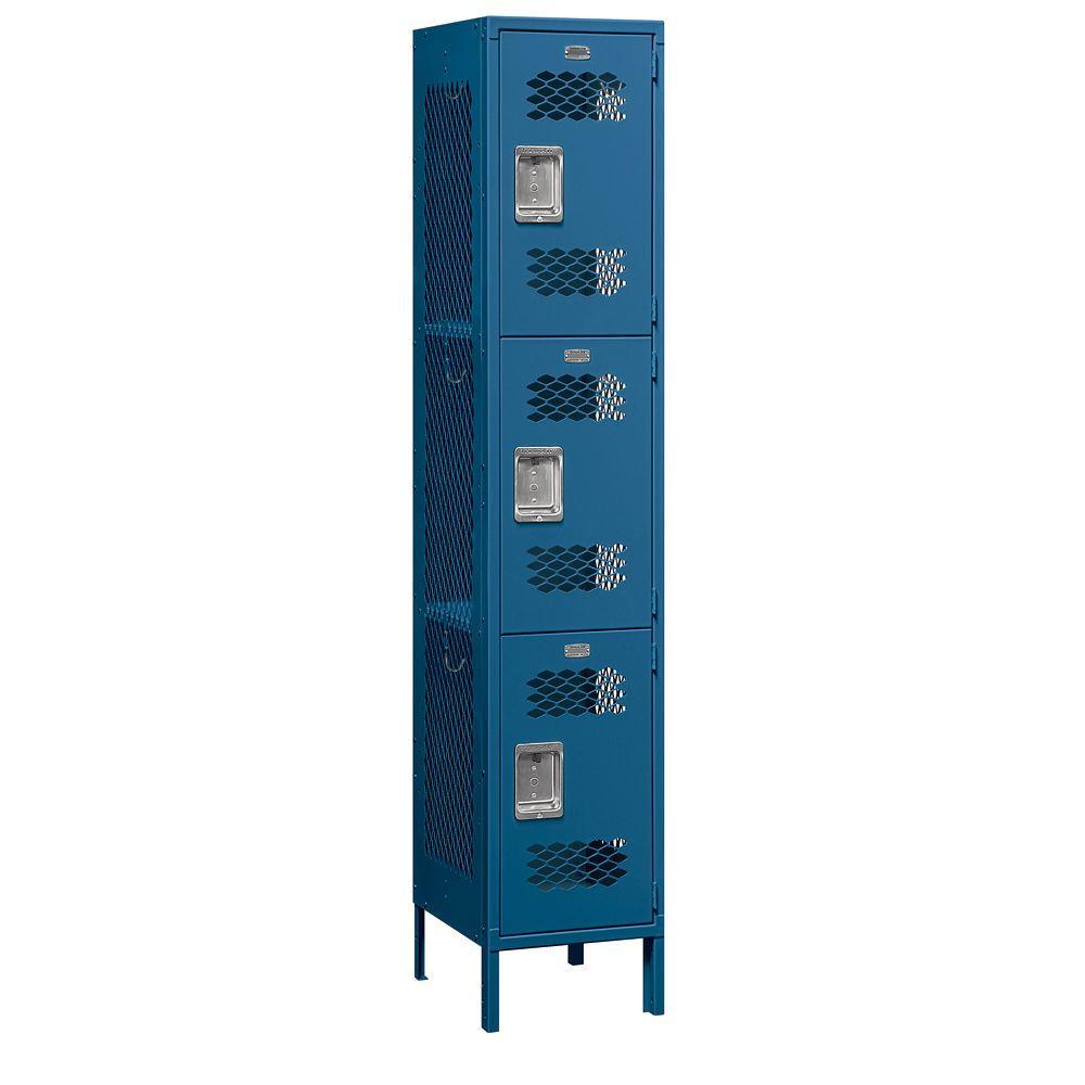 83000 Series 15 in. W x 78 in. H x 18 in. D 3-Tier Extra Wide Vented Metal Locker Unassembled in Blue