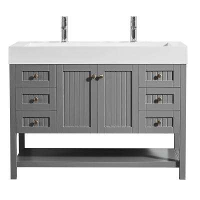 Pavia 48 in. W x 20 in. D Vanity in Grey with Acrylic Vanity Top in White with White Basin