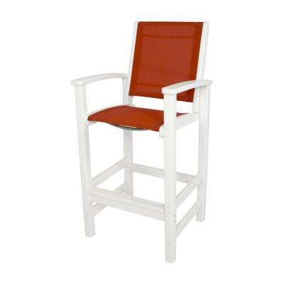Coastal White All-Weather Plastic Outdoor Bar Chair in Salsa Sling