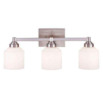 3-Light Pewter Bath Bar Light with Etched Opal White Glass
