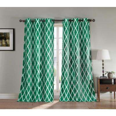 Blackout Kittattinny 112 in. L Blackout Grommet Panel in Emerald (2-Pack)