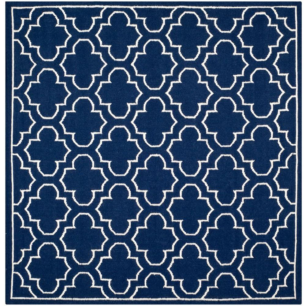 Dhurries Navy/Ivory 7 ft. x 7 ft. Square Area Rug
