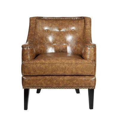 Charleston Camel Brown PU Leather Accent Chair with Button Tufting