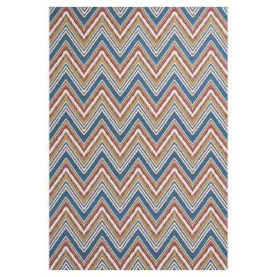 Chevron Multi/Blue 3 ft. x 5 ft. All-Weather Patio Area Rug