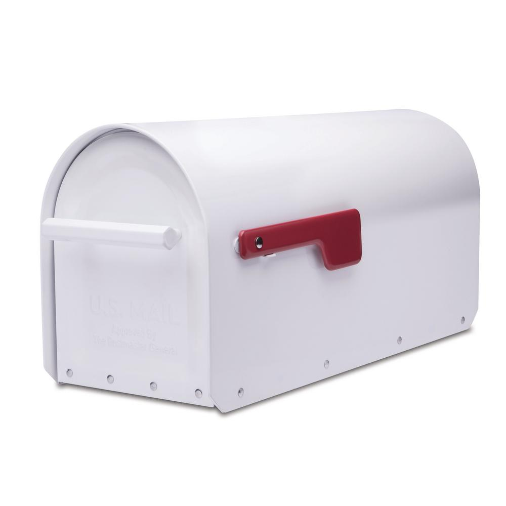 ArchitecturalMailboxes Architectural Mailboxes Sequoia White Heavy Duty Post Mount Mailbox
