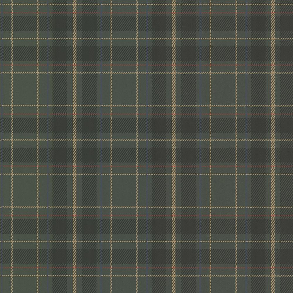 56.4 sq. ft. Caledonia Dark Green Plaid Wallpaper