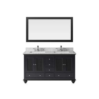60 in. Vanity in Espresso with Marble Vanity Top in Carrara White with White Basin and Mirror