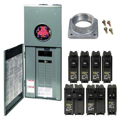 Homeline 200 Amp 20-Space 40-Circuit Outdoor Ring-Type Overhead Main Breaker CSED Value Pack with 2 in. A Hub