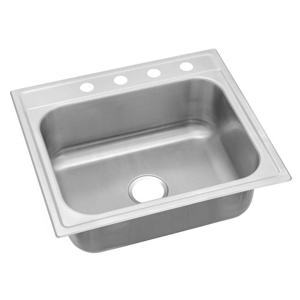 elkay drop-in stainless steel 25 in. 4-hole single bowl kitchen
