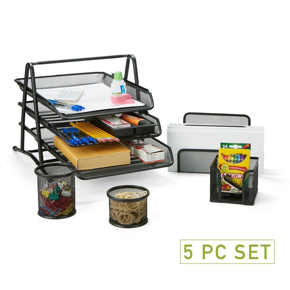 Incredible Mind Reader Metal Mesh 5 Piece Office Desk Organizer Set In Black Home Interior And Landscaping Ferensignezvosmurscom
