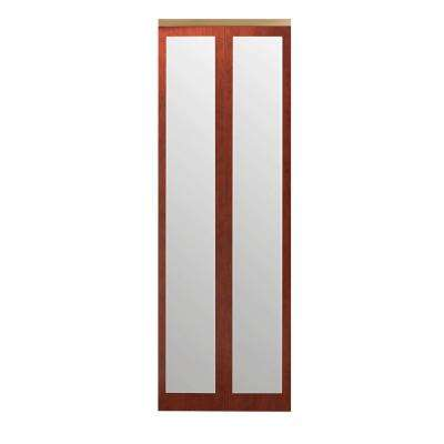 36 in. x 80 in. Mir-Mel Cherry Mirror Gold Trim Solid MDF Interior Closet Bi-Fold Door