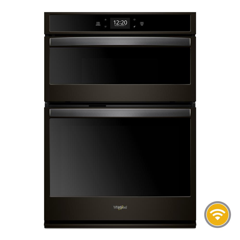 Whirlpool 27 In Electric Smart Combination Wall Oven With Touchscreen Fingerprint Resistant Black Stainless