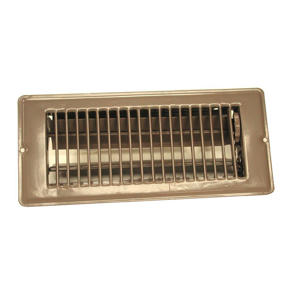 4 in. x 10 in. Steel Floor Register with 7/8 in. Drop in Brown