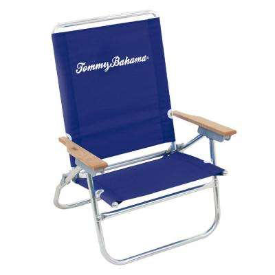 Tommy Bahama Navy Blue Easy in and Out Aluminum and Fabric Reclining 4 Position Beach Chair