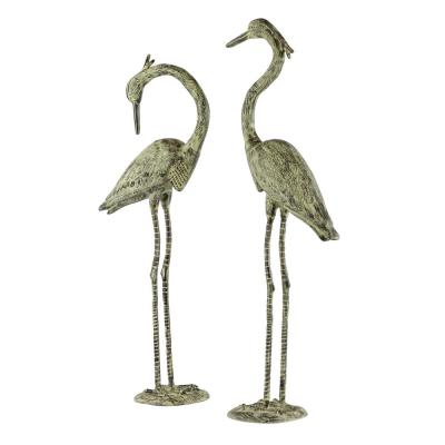 """47"""" and 52"""" Inch Distressed Finish Bronze Flamingo Garden Statues, Set of 2"""