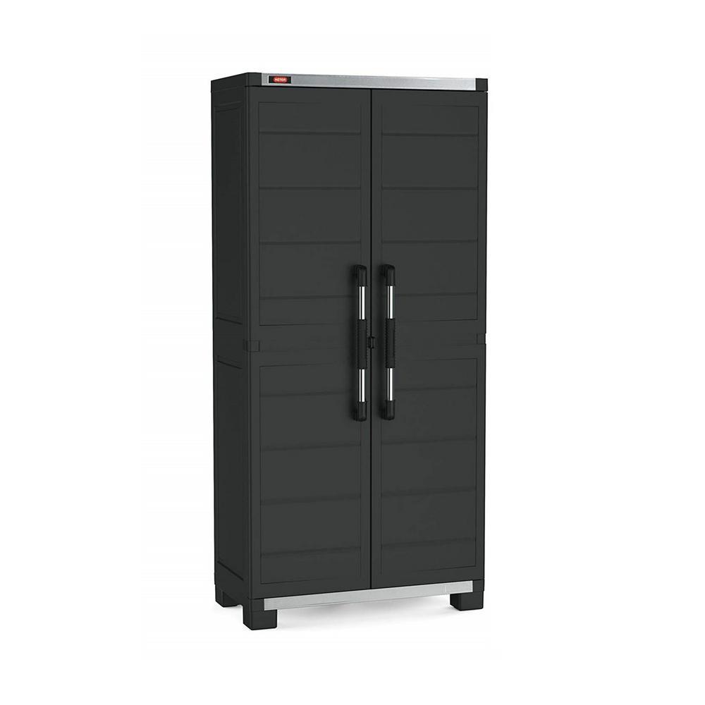 XL Pro 73.62 in. H x 34.65 in. W x 17.72 in. D Freestanding Plastic Utility Cabinet in Black