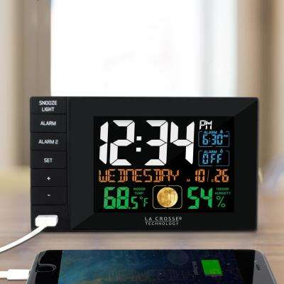 Multi-Color 6 in. x 4 in. Dual Alarm Clock with USB Charge Port, Black