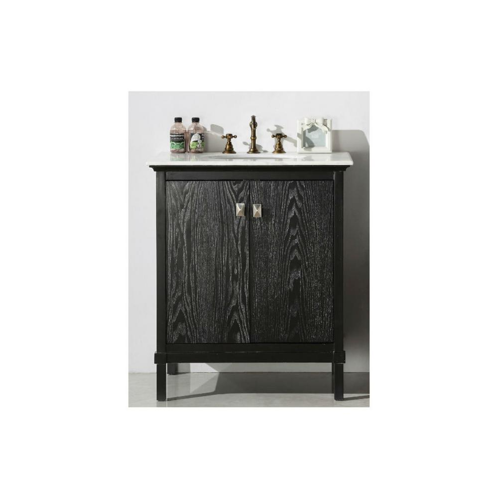 30 In Vanity Antique Black With Marble Top White Basin